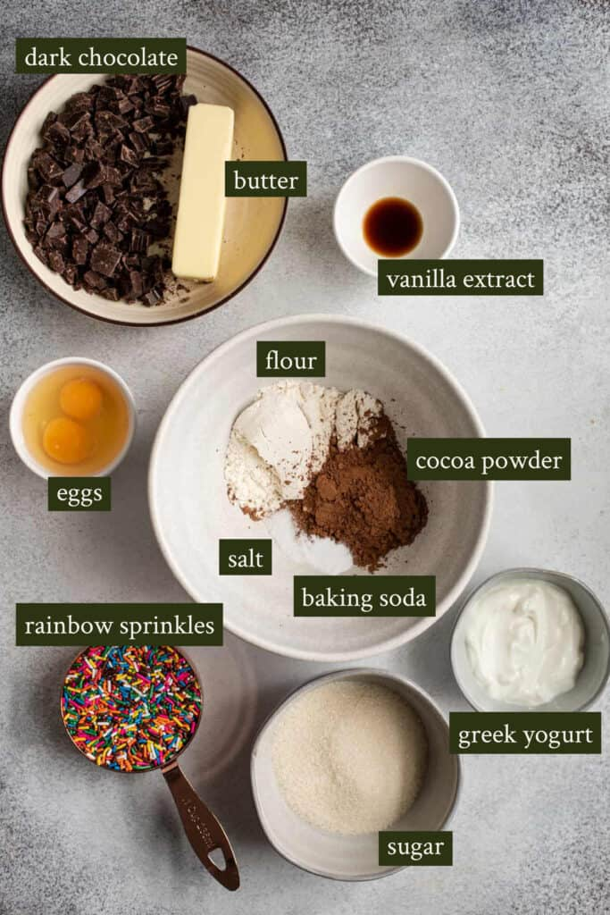 Ingredients for chocolate mini muffins with sprinkles