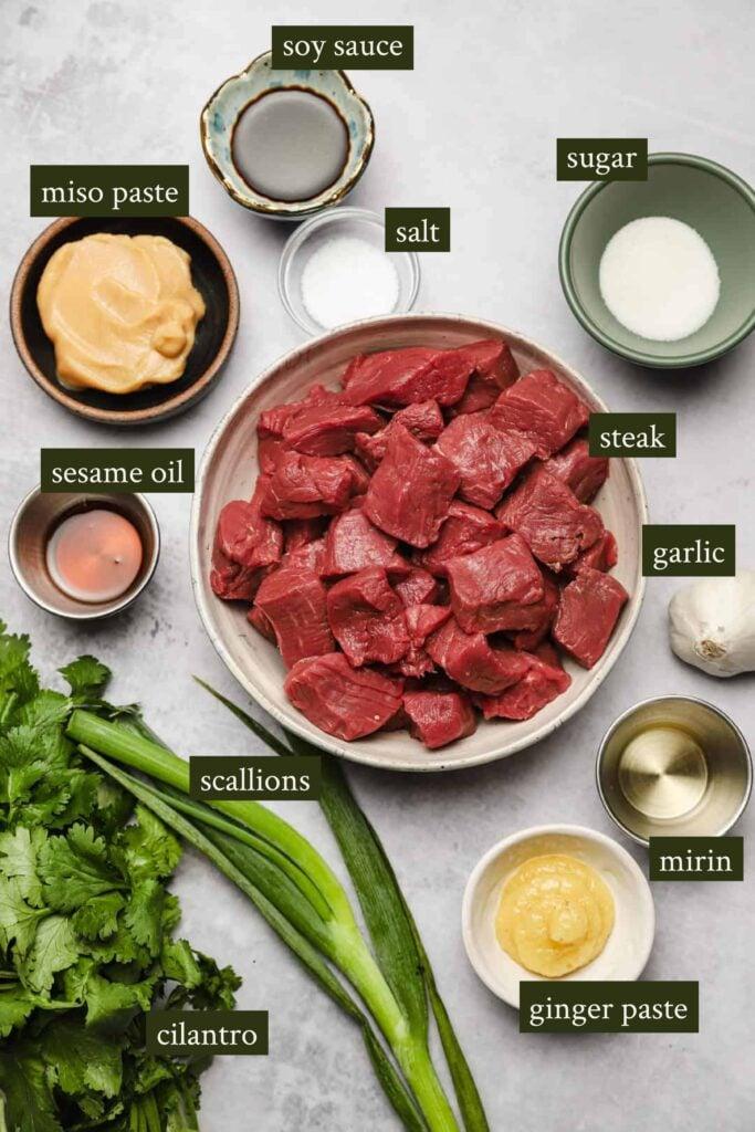 Ingredients for steak tips