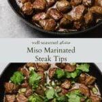 Miso marinated steak tips pinterest graphic