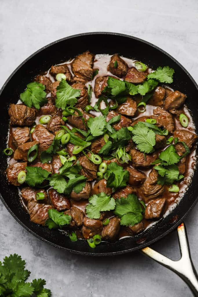 Miso steak with cilantro and scallions