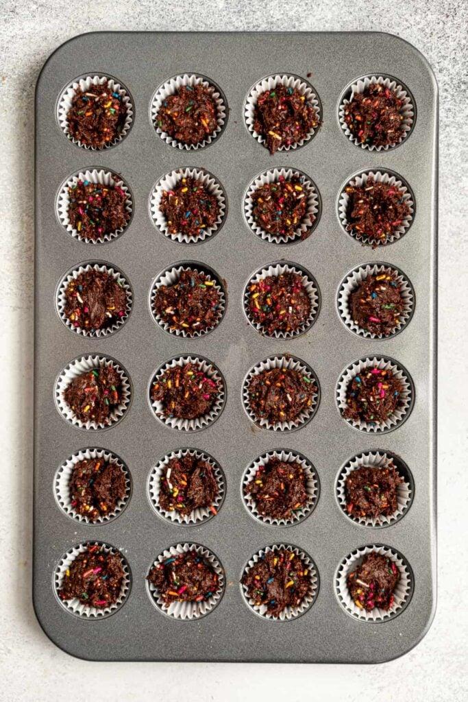 Muffin pan with mini chocolate muffins